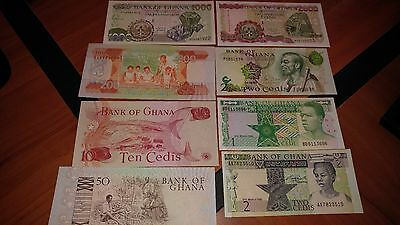 Note Lot of 8 Ghana Banknotes - UNC