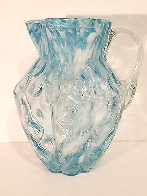 Antique Reversed Thumbprint Blue Spatter Glass Water Pitcher