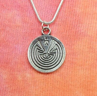 "Labyrinth Necklace, Maze Greek Symbol Sign Charm Pendant Gift Box 16-36"" chain"