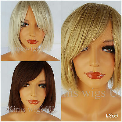 Short Bob Wig Honey Blonde, Silver Grey, Dark Red Ladies  Blunt Choppy Style