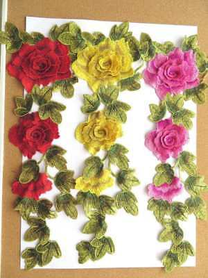 Long 3D guipure flower patch applique 1piece red, yellow or pink