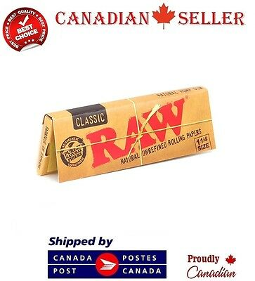 RAW Classic 1 1/4 Natural Unrefined Rolling Papers x 3 Booklets
