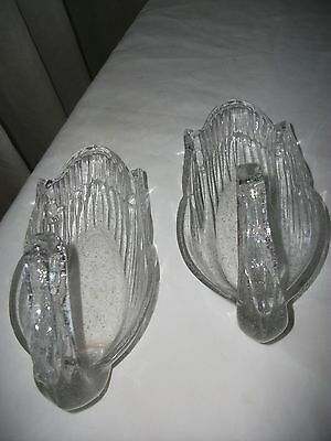 Pair Of Vintage Bubble Glass Swans Candy Dish