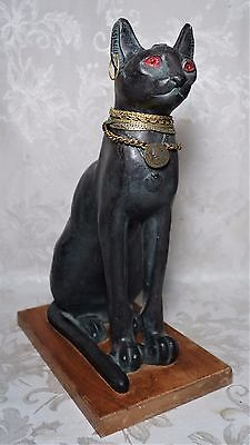 Unique Vintage Large Egyptian Black Cat Statue Red Eyes Hand Made in Egypt 14""