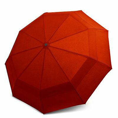 EEZ-Y Compact Travel Umbrella w/ Windproof Double Canopy Construction (Red)
