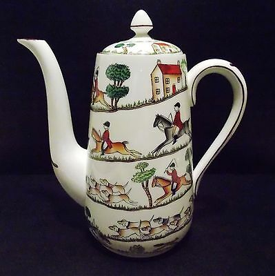 Hunting Scene By Crown Staffordshire Large Coffee Pot And Lid Horses Hunt Scene