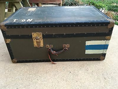 Vintage Steamer Trunk Upright Wardrobe Travel Luggage Chest