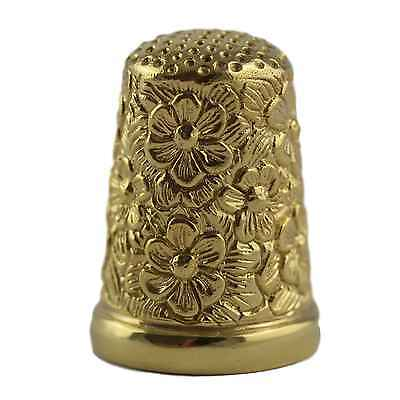 VICTORIAN STYLE FLOWER EMBOSSED THIMBLE 18ct GOLD PLATED STERLING SILVER