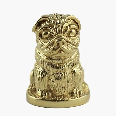COLLECTABLE VICTORIAN STYLE PUG DOG THIMBLE 18ct GOLD PLATED STERLING SILVER
