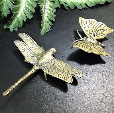 Solid Brass Ornaments - 5.5cm Butterfly & 9.5cm Dragonfly
