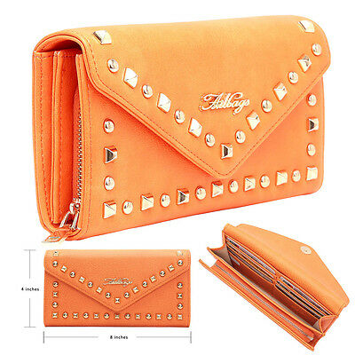 Aitbags Studded Women Purse Clutch Leather Wallet Long Card Holder Phone Case