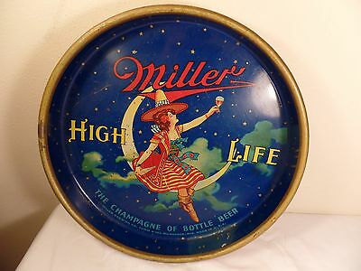 """Vintage 13"""" Miller High Life Beer Tray (Girl on Moon)"""