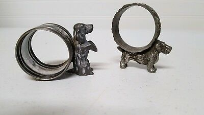 Napkin Rings Dogs Figural Silver Plate Applied Spaniels Lot Two   7093