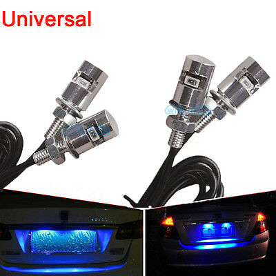 4x Blue LED SMD Motorcycle & Car License Plate Screw Bolt Light lamp bulb 12V