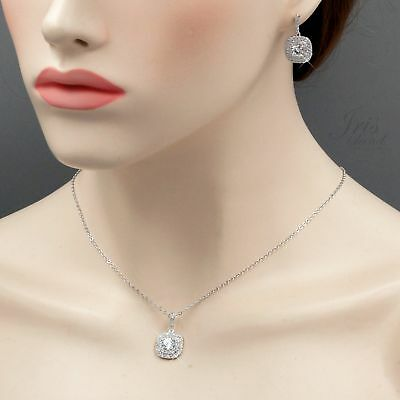 White Gold Plated Zirconia CZ Necklace Earrings Bridal Wedding Jewelry Set 06226