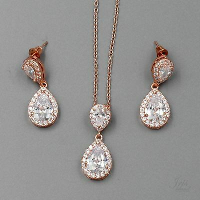 ROSE GOLD Plated Zirconia CZ Necklace Earrings Bridal Wedding Jewelry Set 06242