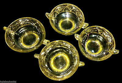 4 Federal Rosemary Depression Glass Handled Berry Bowls Yellow Amber