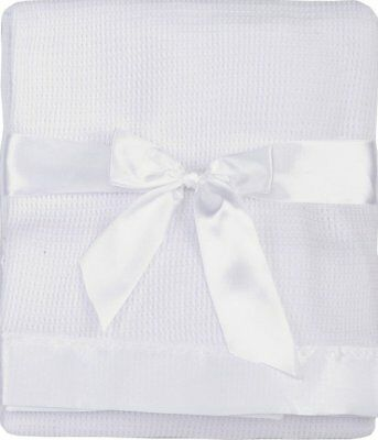 Thermal Waffle Weave Baby Blanket with Satin Nylon Trim (White)