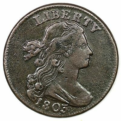 """1803 s-255 """"Sm Date, Sm Fraction"""" Draped Bust Large Cent Coin 1c"""