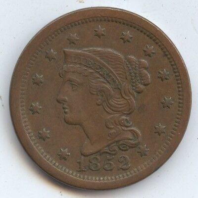 1852 Large Cent (#7869) Nice XF. Carefully Check out the Photos.