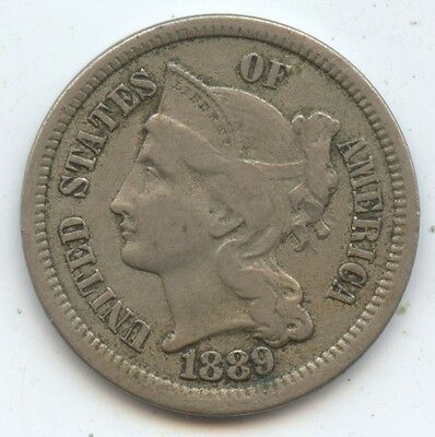 1889 3C Nickel (#7871) XF. Better Date. Carefully Check out the Photos.