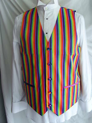 RAINBOW Mens Waistcoat-3XL-46 With/Without Bow tie and Hankie> P&P 2UK>1st Class