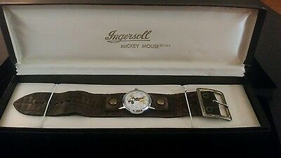 Vintage Mickey Mouse Ingersoll Wind Up Watch With Box- Disneyana, Working Cond.
