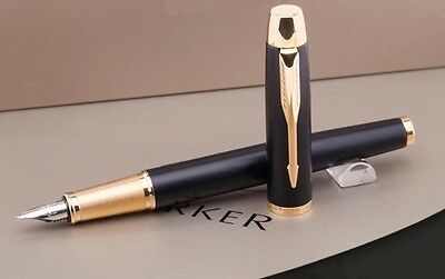 Parker Im Black Fountain Pen With Gold Trim