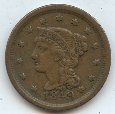 1849 Large Cent (#7885) XF. Carefully Check out the Photos.