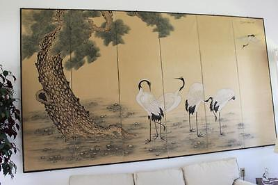Large Vintage Japanese 6 Panel Folding Screen Byobu Kyokuzan Pine With Cranes