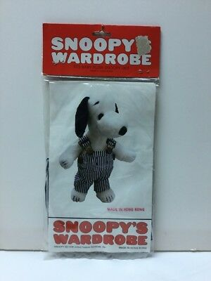 1979 Snoopy's Wardrobe Striped Overalls For Baby Plush SNOOPY, In Bag