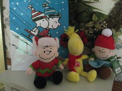 """Three  Peanuts Plush 9"""" W/gift Bag (Sparkly) 4 Items Total All New Free Ship"""