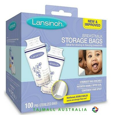 Lansinoh Breast milk Pre-Sterilized Storage Bags 180ml |100 Count I BPA Free