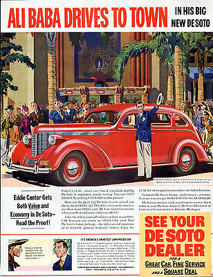 "1938 DeSoto  car ad --"" Eddie Cantor "" At Grauman's Chinese Theater--v1200"