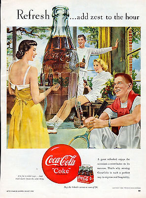 1950 Coca Cola ad -Coke ad --Adds Zest to the Hour  ---k733