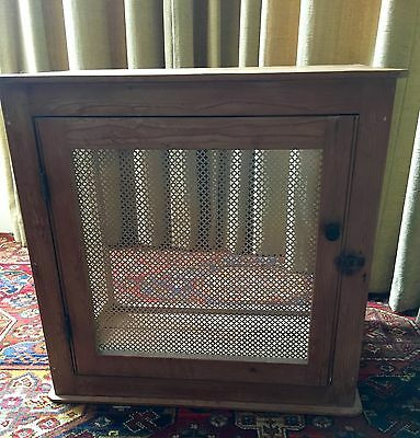 VINTAGE MEAT SAFE stripped pine with perforated brass panels