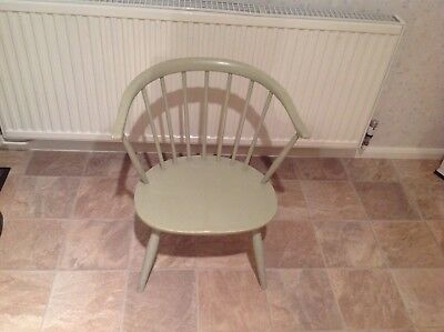 Ercol Chair Windsor 'Cowhorn' Painted elm/beech lounge fireside low chair, 60s