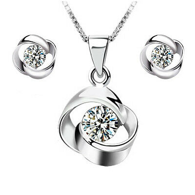 2017 New products Fashion wedding jewelry Set 925 silver Rotate necklace earring