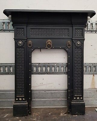 Victorian Cast Iron Fireplace With Lions