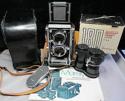 Vintage Mamiya C330 Professional Camera w/ 80mm and 180mm Lenses Manuals Cases