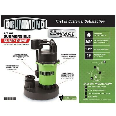 Brand New 1/3 HP Submersible Sump Pump with Vertical Float 3400 GPH