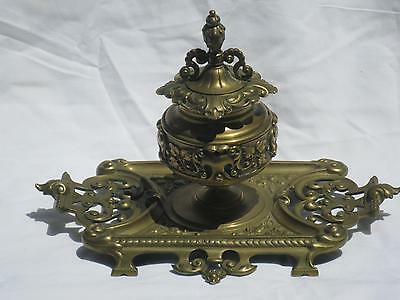 Fabulous Antique Victorian Bronze Inkwell Handled Base & Foliate Details 19th c.