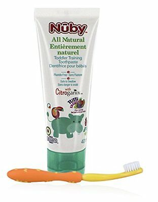 Nuby Citroganix Toddler Toothpaste with Toothbrush - Orange/Yellow