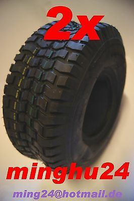 2 Lawn Mower Tires Mounted 15x6.00-6 Ride-on 6PR Tyres