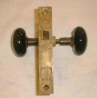 Antique Mallory&wheeler Mortise Door Lock W/  Brass Plates & Jet Porcelain Knobs