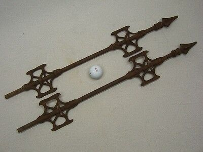 2 pair 2 two VERY OLD RUSTY Weather Vane Fence Acchitectural Ornate Unique IRON