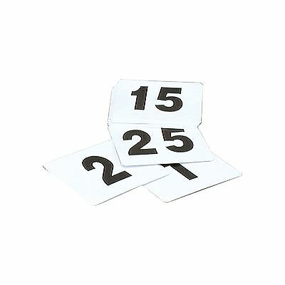 TABLE NUMBERS SET 1-100 PLASTIC BLACK ON WHITE SMALL 50x50mm BAR CAFE FUNCTIONS