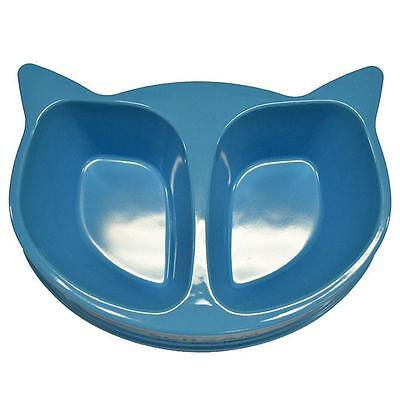 Scream CAT FACE DOUBLE BOWL 2 x 350ml Loud Blue Kitten Food water bowl Brand new