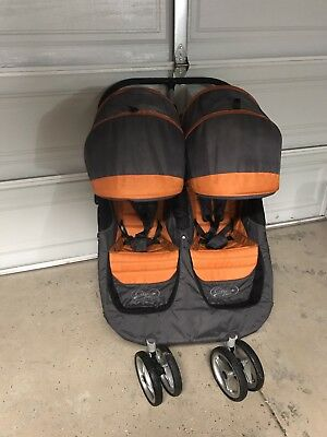 Baby Jogger City Mini Orange/Gray Standard Double Seat Stroller.       Pre-Owned