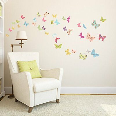 Decowall DW-1408 Colorful Patterned Butterflies peel & stick wall decals ...